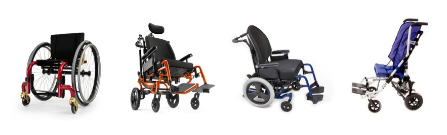 A variety of manual wheelchairs.
