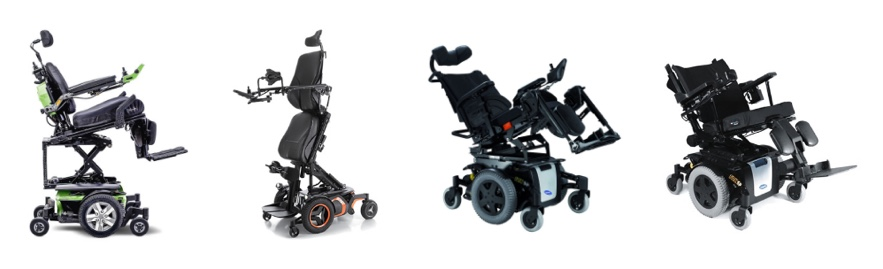 A variety of power wheelchairs