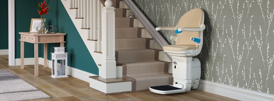 A stair lift in a home