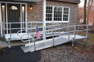 a wheelchair ramp leading into a home