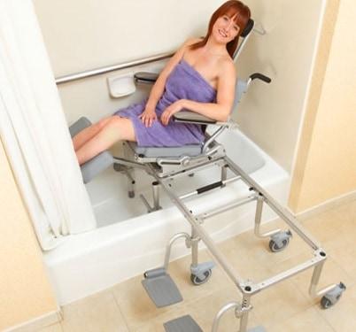 a woman using a bath system