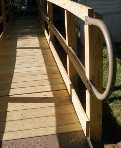 a wooden wheelchair ramp