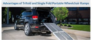 a folding wheelchair ramp on the back of a vehicle