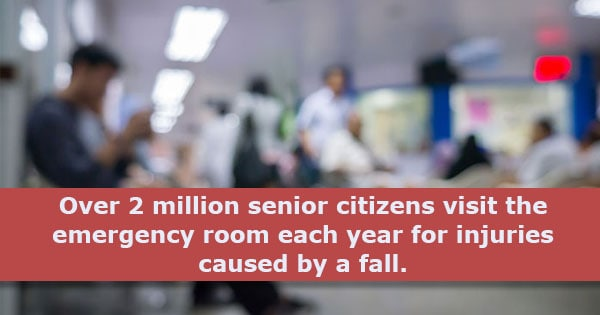 over 2 million senior citizens visit the emergency room each year for injuries caused by a fall