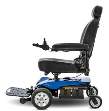 a blue motorized wheelchair