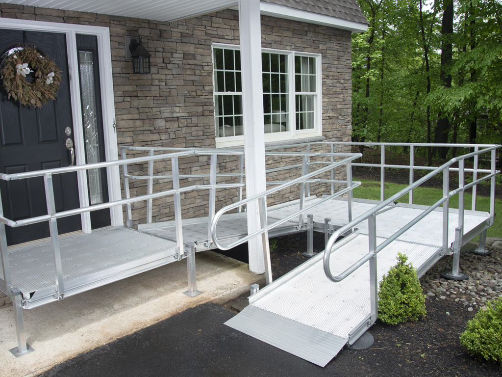 An aluminum ramp in front of a house
