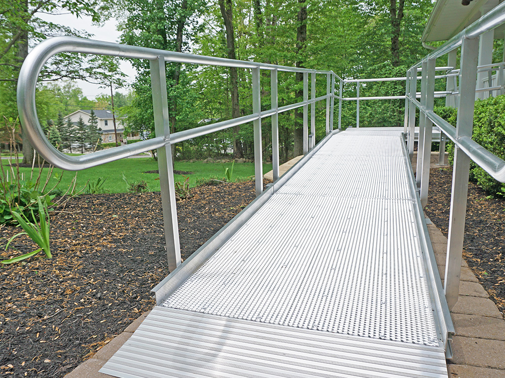 The walkway of an aluminum ramp