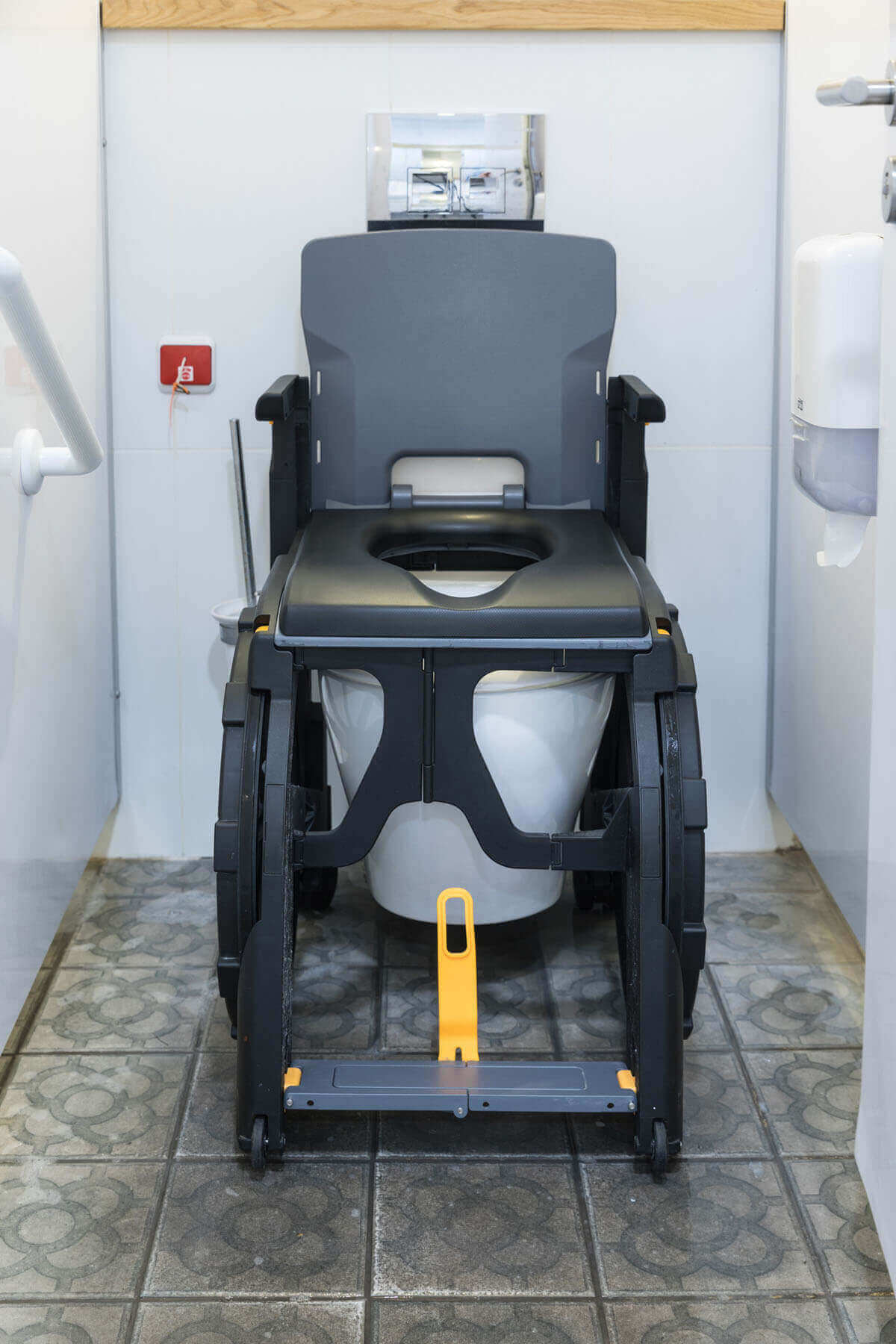 The Seatara WheelAble Toilet and Shower Chair over a toilet