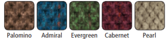 The color options for the MaxiComforter, including Pearl, Cabaret, Evergreen, Admiral, and Palomino