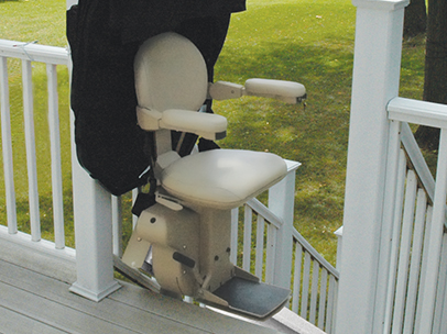 Outdoor bruno stair lift open at top of stairs