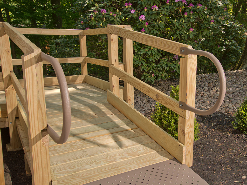 the corner of a Wood Deck Ramp