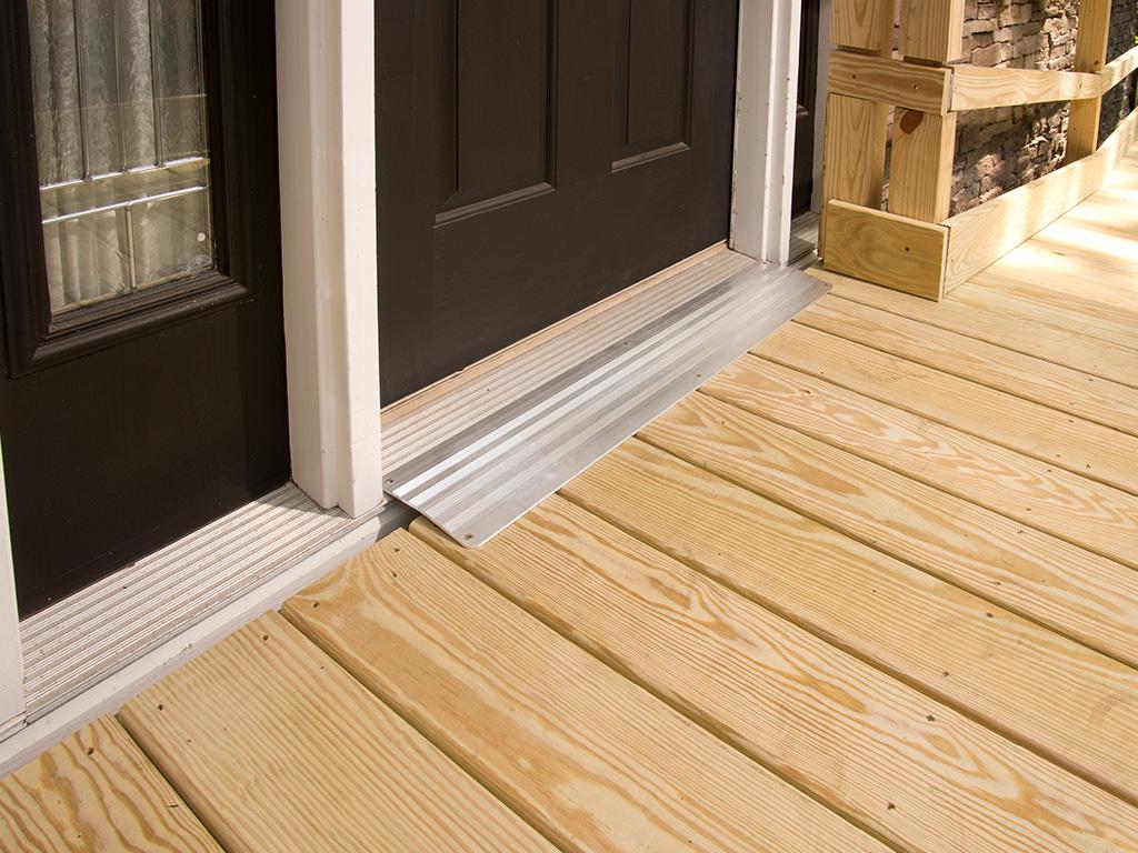 Wood Deck Ramp in front of a door
