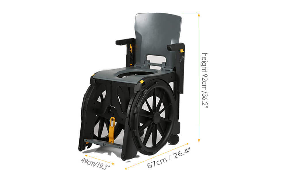 The Seatara WheelAble Toilet and Shower Chair with dimensions