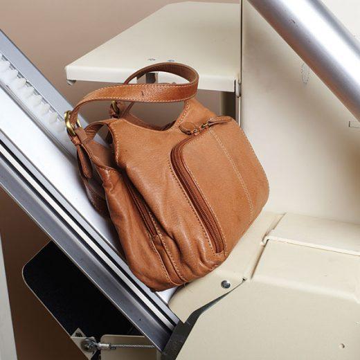 A bag sitting on an incline platform