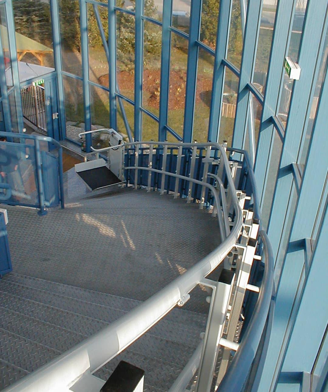 The inside of a platform lift