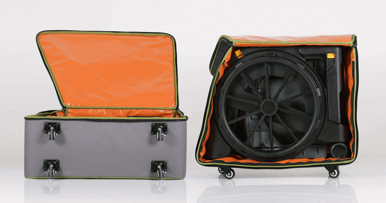 The Seatara WheelAble Toilet and Shower Chair packed inside a suitcase