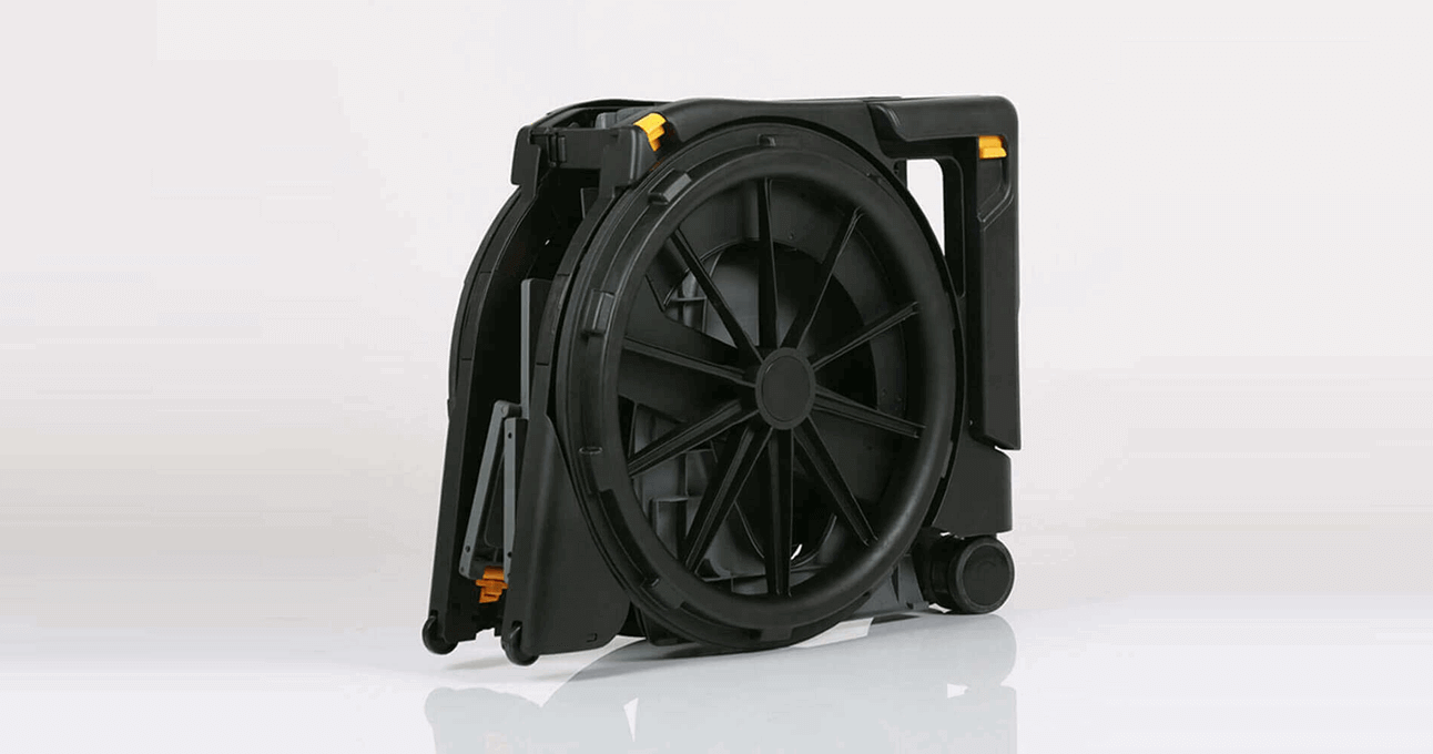 The Seatara WheelAble Toilet and Shower Chair folded up