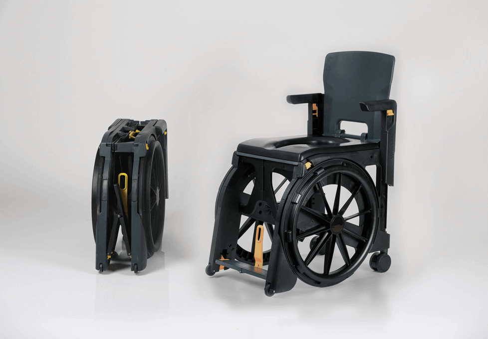The Seatara WheelAble Toilet and Shower Chair completely folded in and completely set up